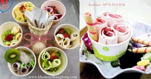 Kem cuốn được làm từ máy làm kem cuộn 1 hộc kiểu Thái